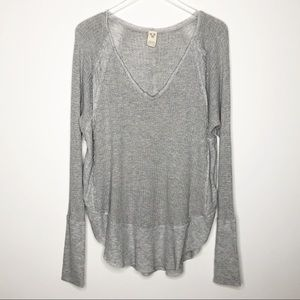 Free People | Gray Catalina Waffle Knit Thermal L